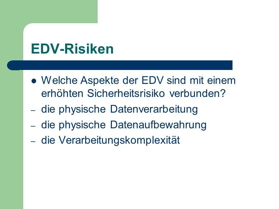 EDV-Risiken Welche Aspekte der EDV sind mit einem erhöhten Sicherheitsrisiko verbunden die physische Datenverarbeitung.