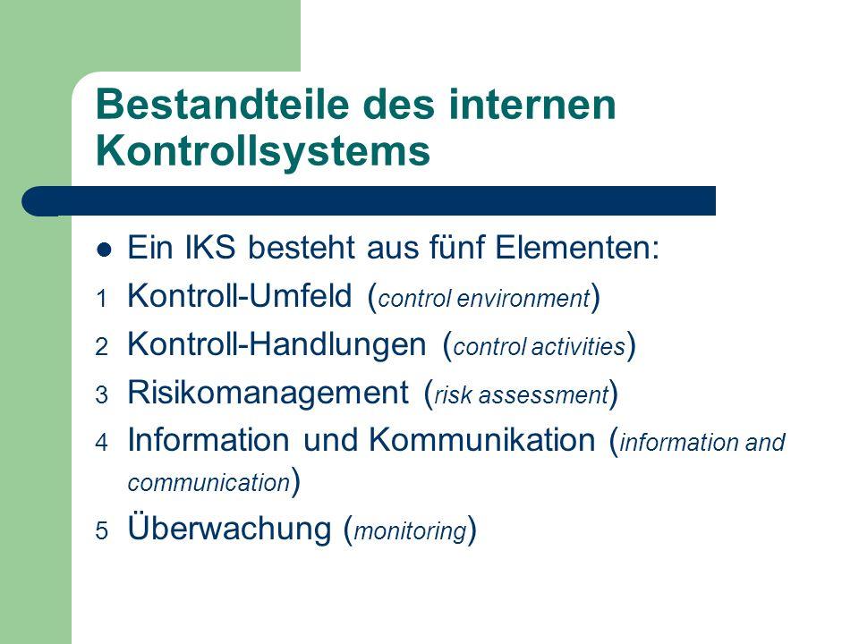Bestandteile des internen Kontrollsystems