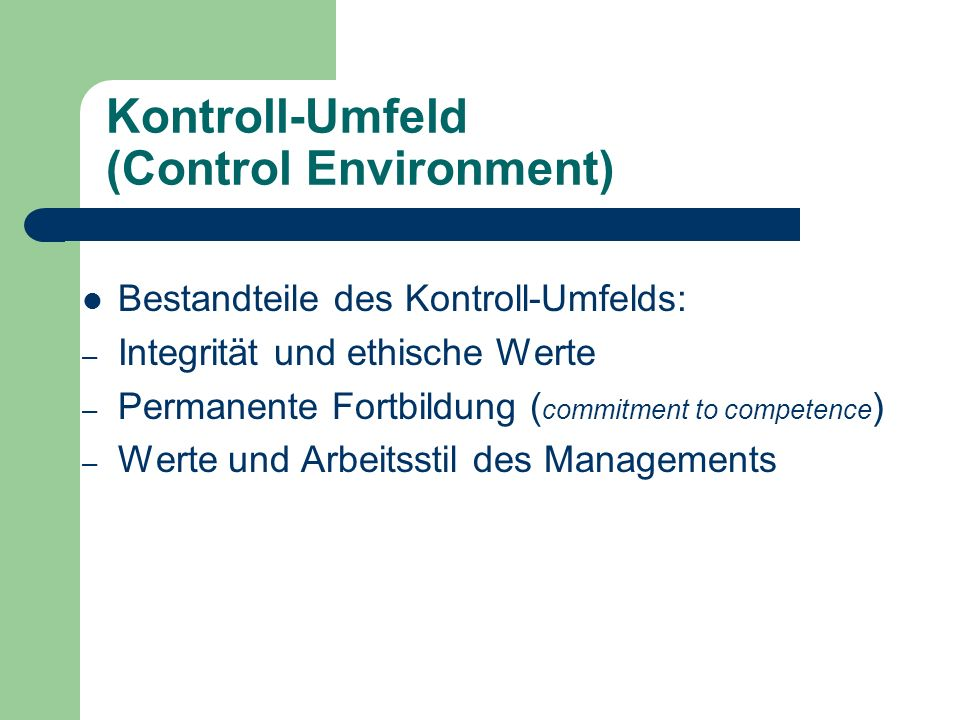 Kontroll-Umfeld (Control Environment)