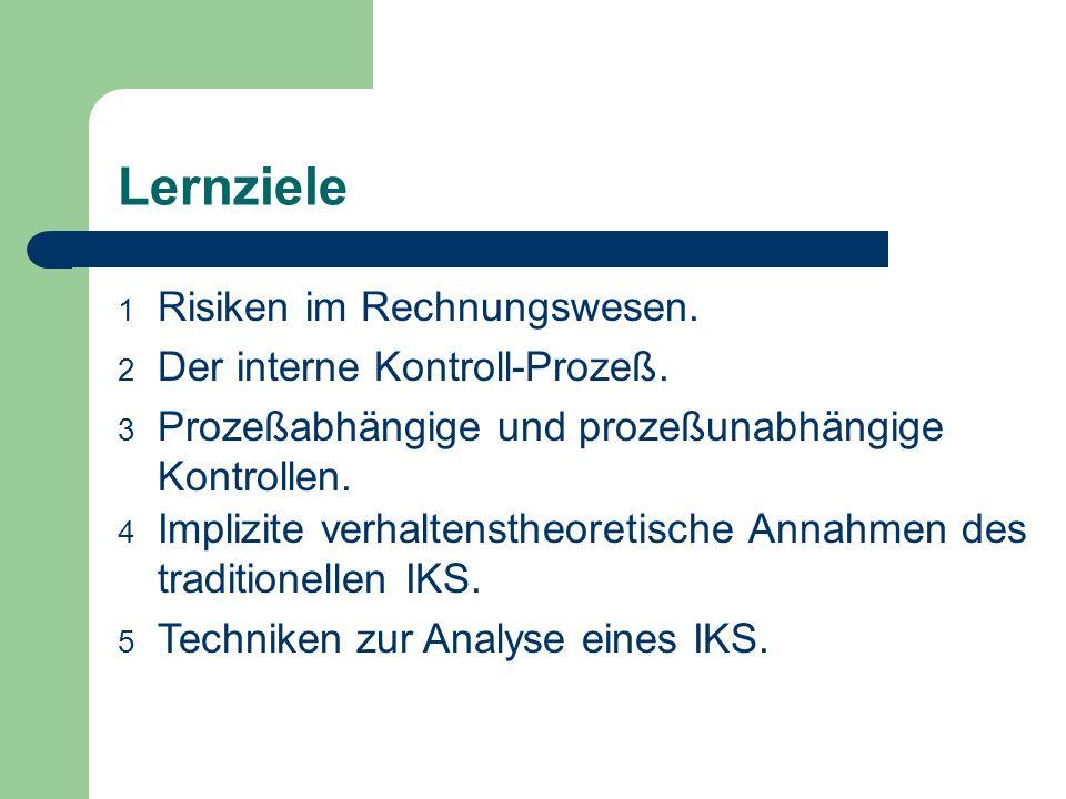 Lernziele Risiken im Rechnungswesen. Der interne Kontroll-Prozeß.