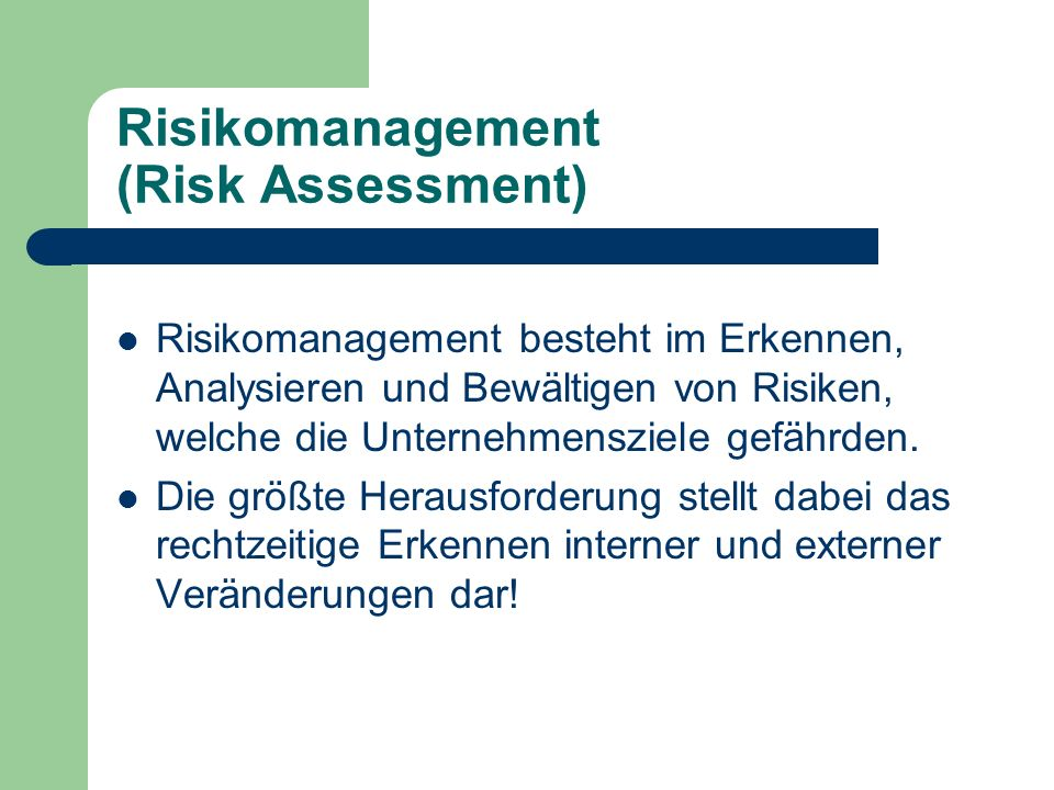 Risikomanagement (Risk Assessment)