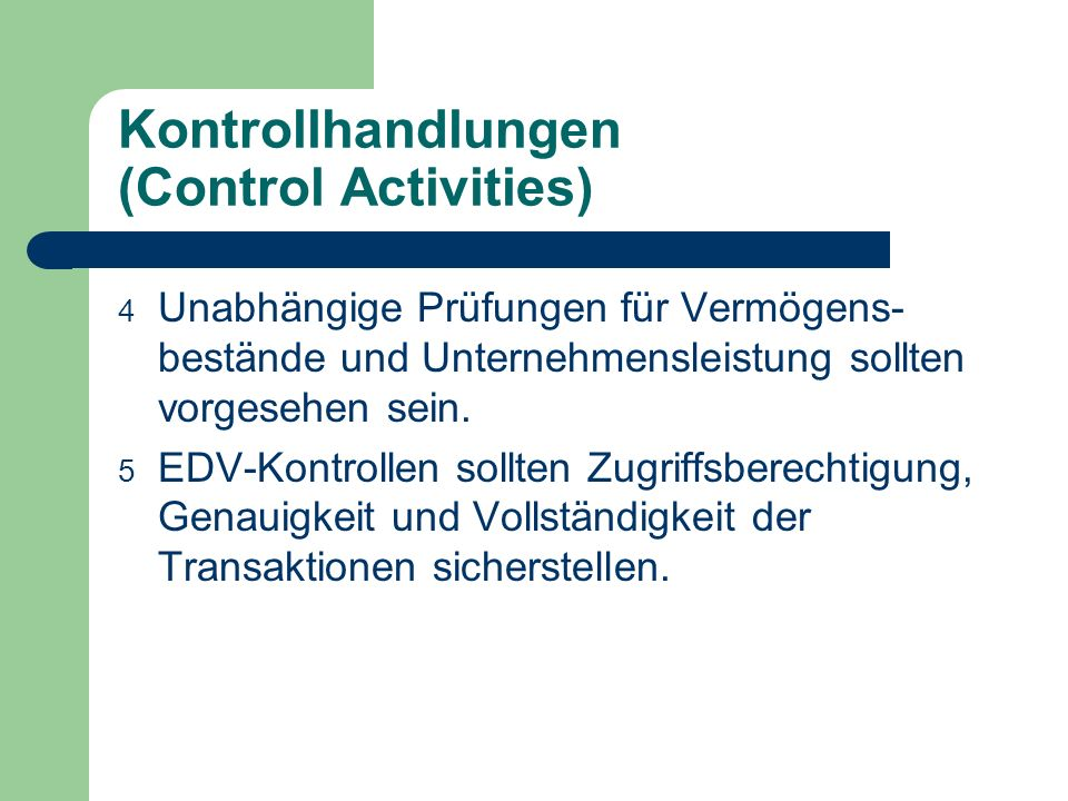 Kontrollhandlungen (Control Activities)