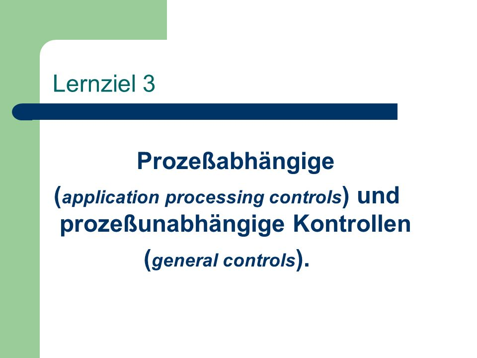 (application processing controls) und prozeßunabhängige Kontrollen