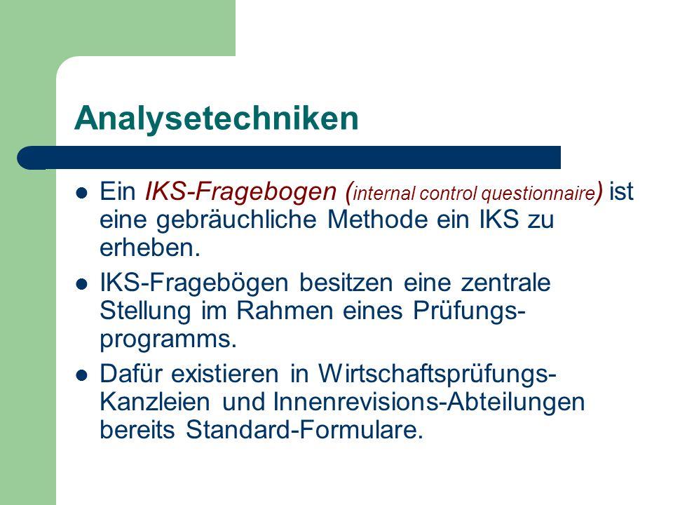 Analysetechniken Ein IKS-Fragebogen (internal control questionnaire) ist eine gebräuchliche Methode ein IKS zu erheben.