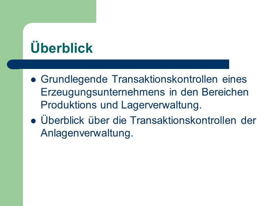 Überblick Grundlegende Transaktionskontrollen eines Erzeugungsunternehmens in den Bereichen Produktions und Lagerverwaltung.