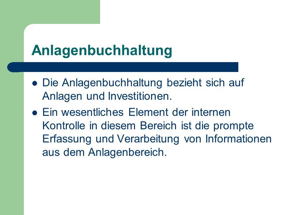 Anlagenbuchhaltung Die Anlagenbuchhaltung bezieht sich auf Anlagen und Investitionen.