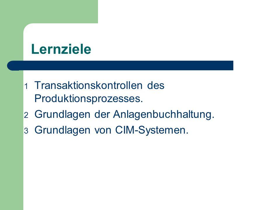 Lernziele Transaktionskontrollen des Produktionsprozesses.