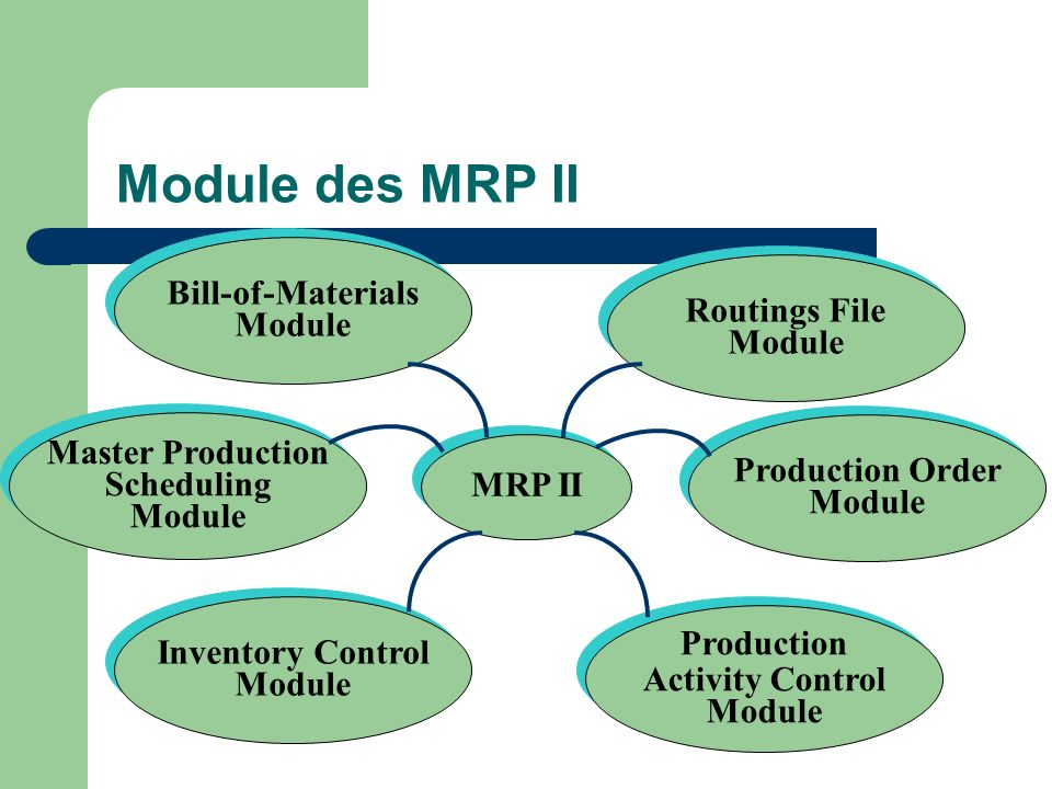 Module des MRP II Bill-of-Materials Module Routings File Module