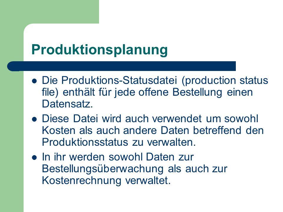 Produktionsplanung Die Produktions-Statusdatei (production status file) enthält für jede offene Bestellung einen Datensatz.