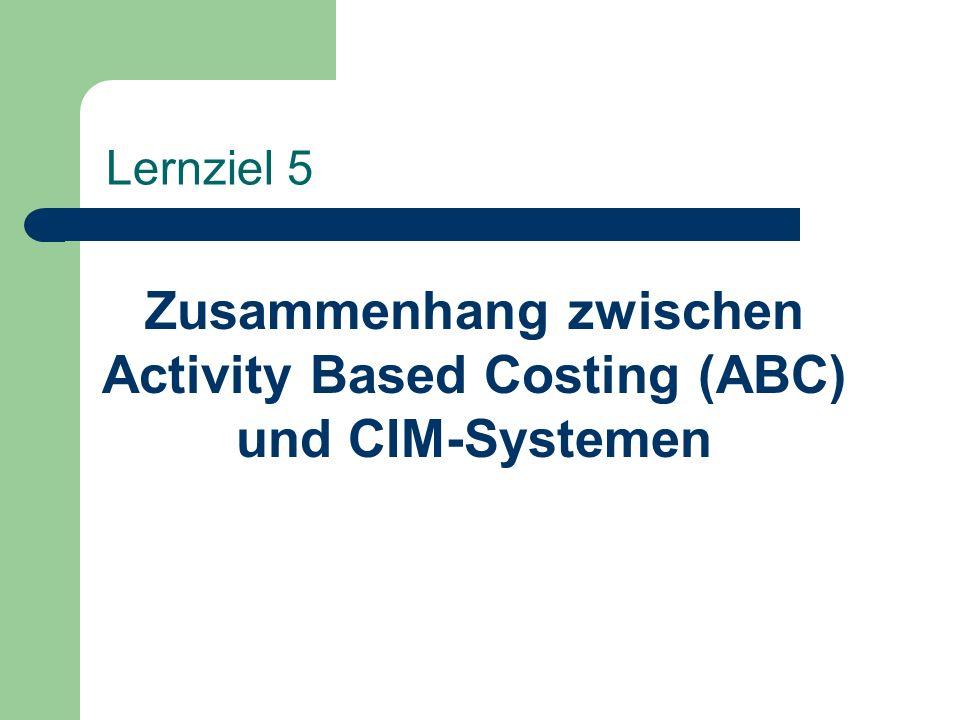 Zusammenhang zwischen Activity Based Costing (ABC) und CIM-Systemen