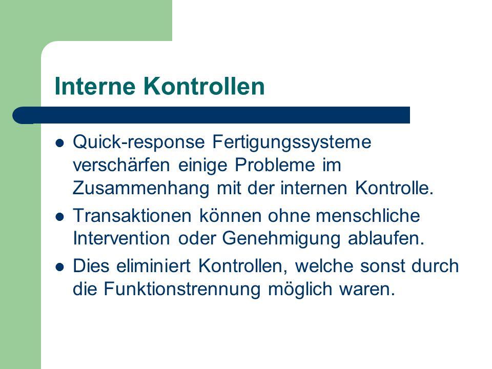 Interne Kontrollen Quick-response Fertigungssysteme verschärfen einige Probleme im Zusammenhang mit der internen Kontrolle.