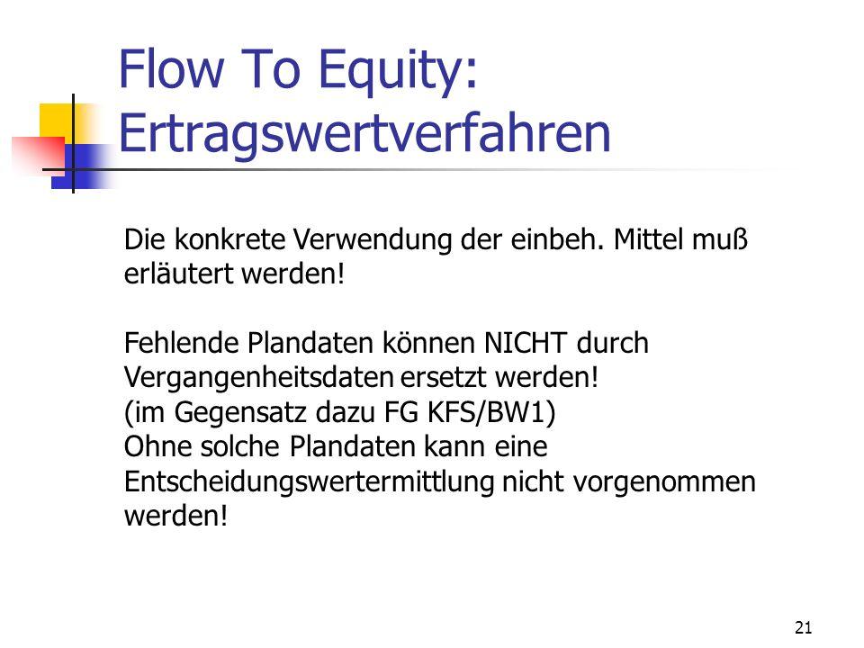 Flow To Equity: Ertragswertverfahren