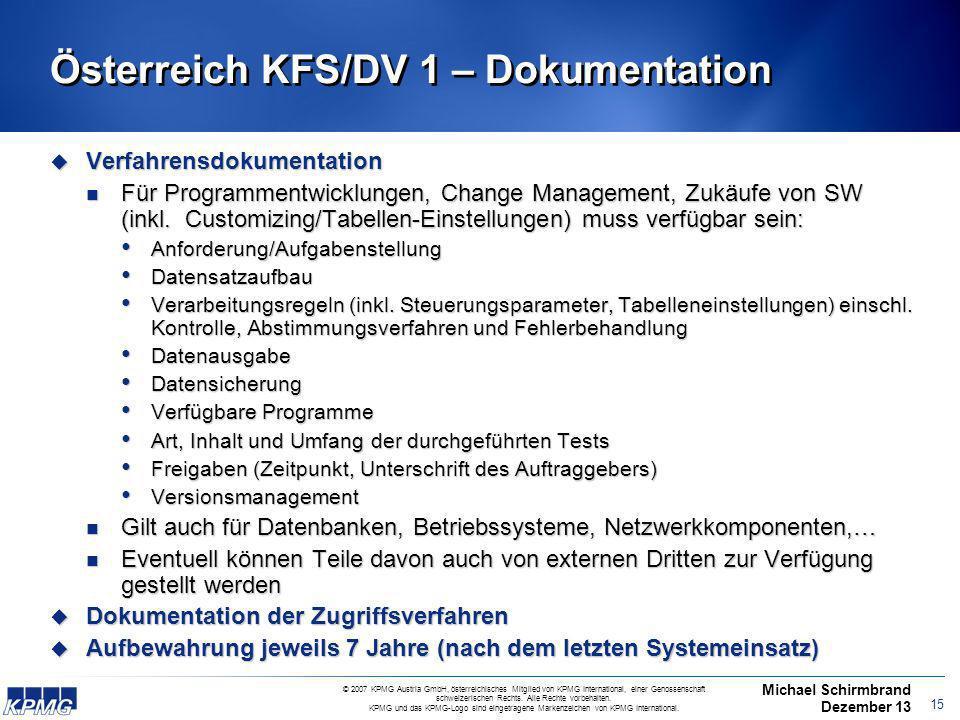Österreich KFS/DV 1 – Dokumentation