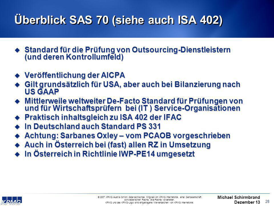 Überblick SAS 70 (siehe auch ISA 402)