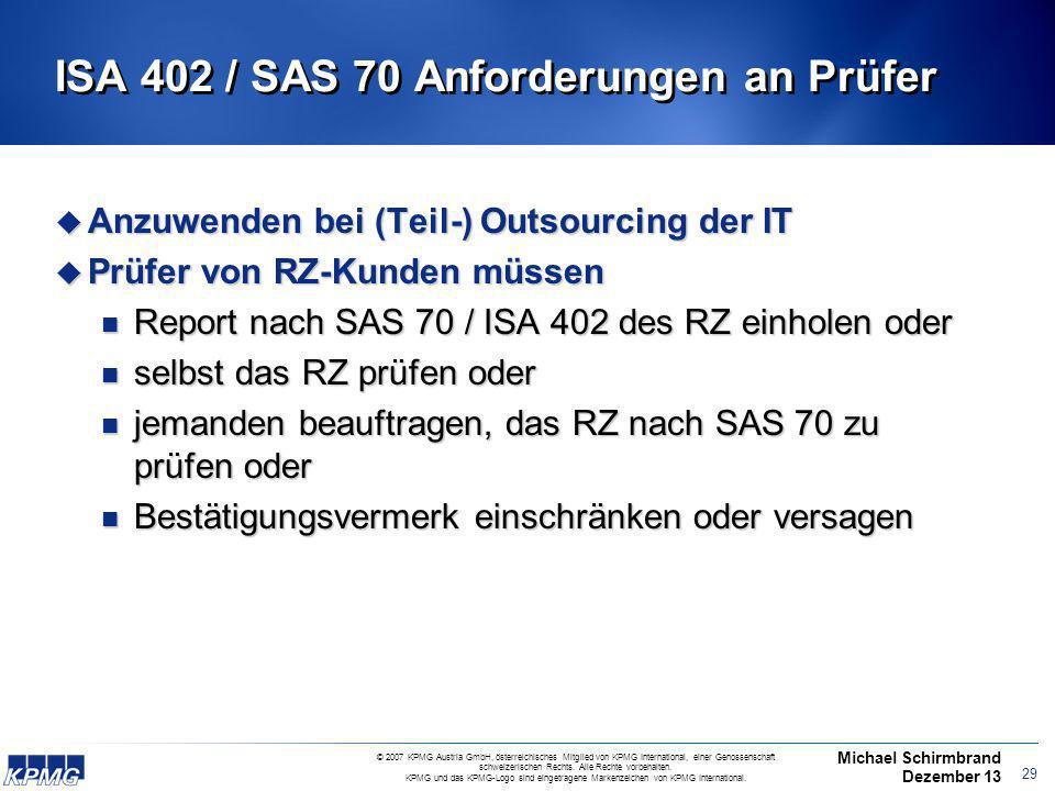 ISA 402 / SAS 70 Anforderungen an Prüfer