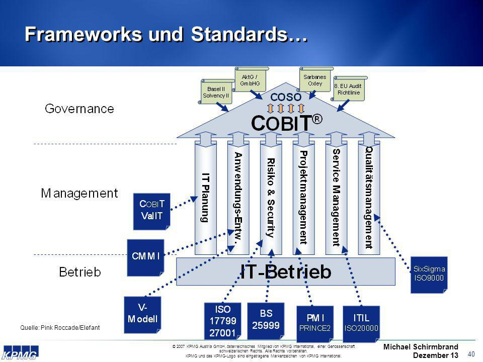 Frameworks und Standards…