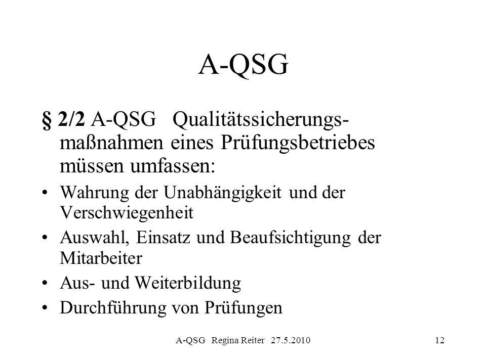 A-QSG § 2/2 A-QSG Qualitätssicherungs- maßnahmen eines Prüfungsbetriebes müssen umfassen: Wahrung der Unabhängigkeit und der Verschwiegenheit.
