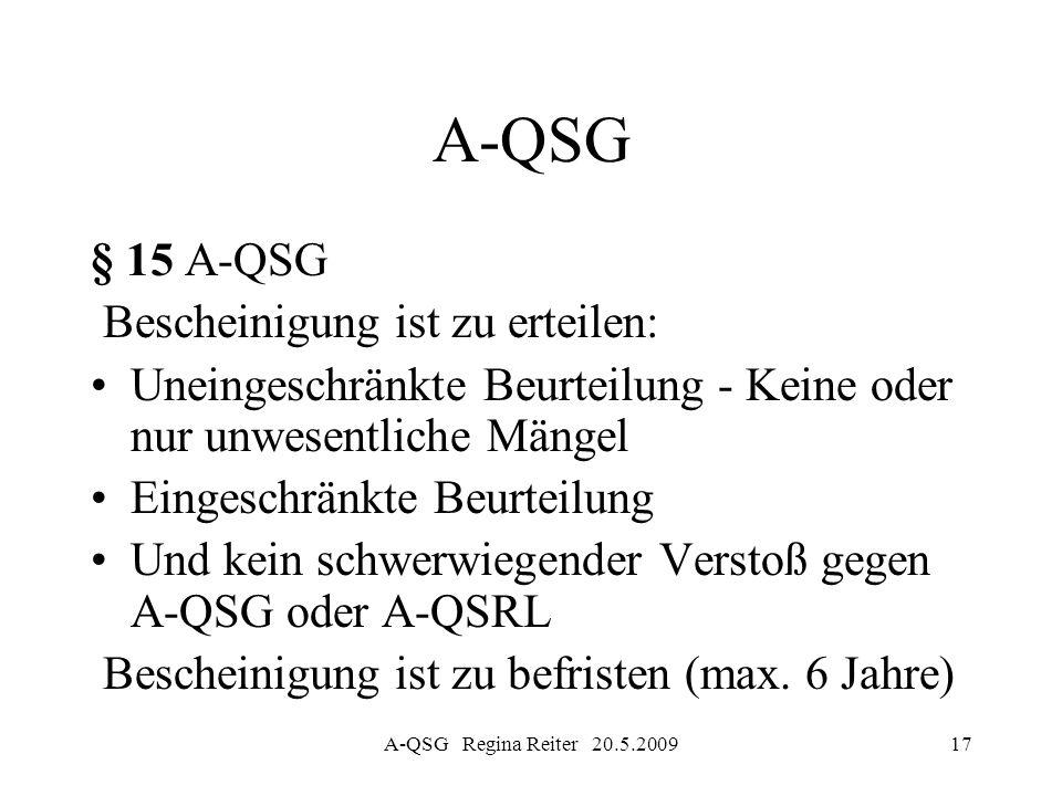 A-QSG § 15 A-QSG Bescheinigung ist zu erteilen: