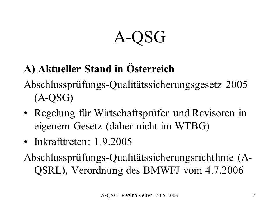 A-QSG A) Aktueller Stand in Österreich