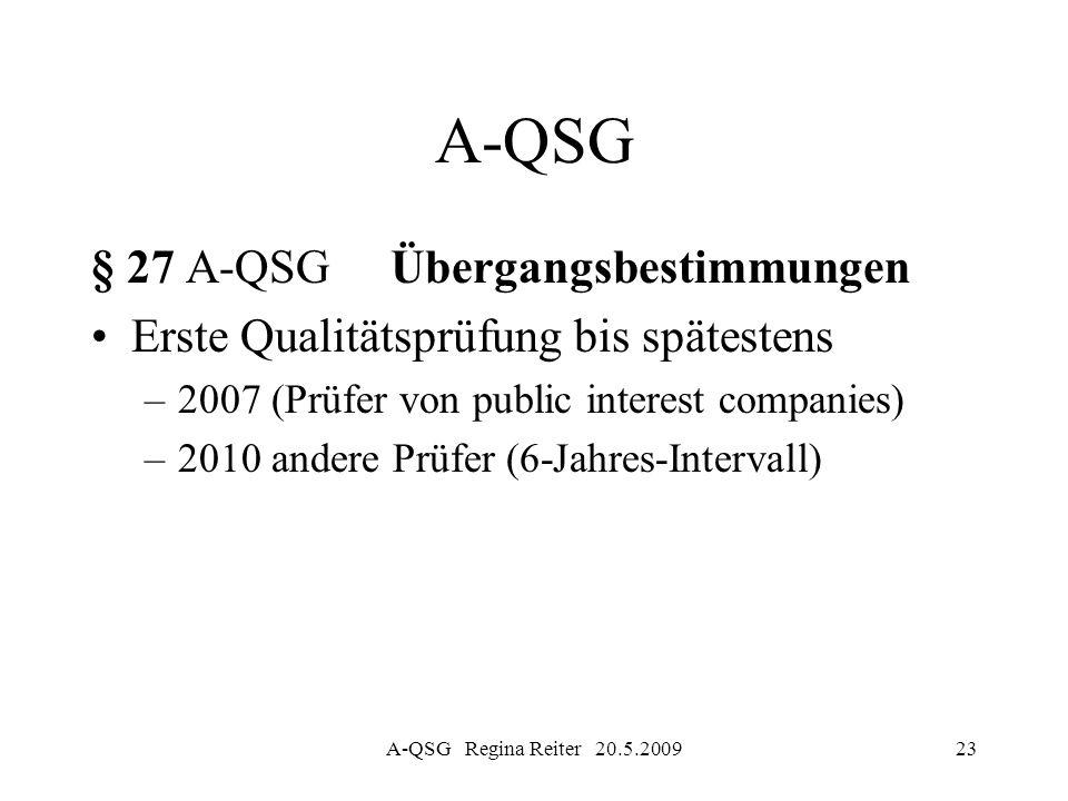 A-QSG § 27 A-QSG Übergangsbestimmungen