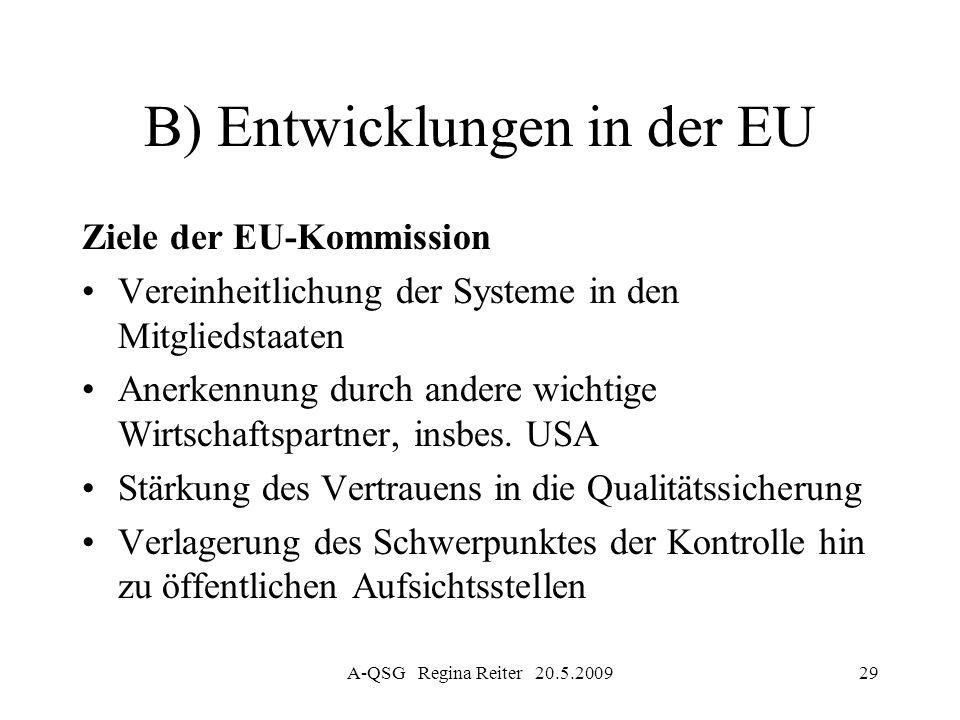 B) Entwicklungen in der EU
