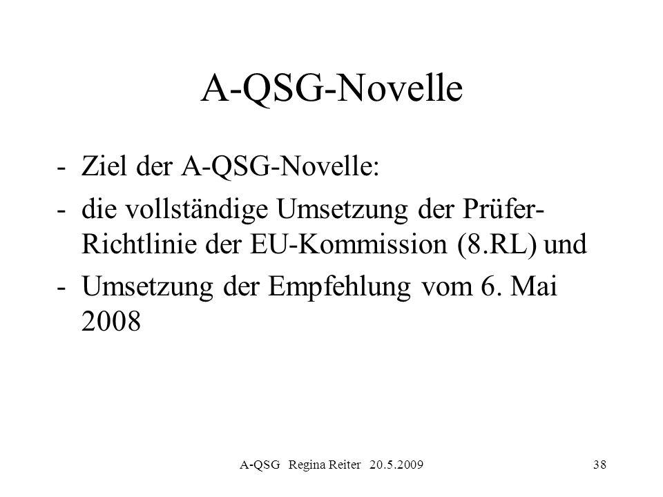 A-QSG-Novelle Ziel der A-QSG-Novelle: