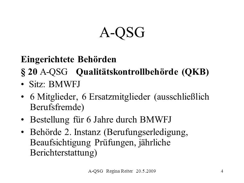 A-QSG Eingerichtete Behörden § 20 A-QSG Qualitätskontrollbehörde (QKB)