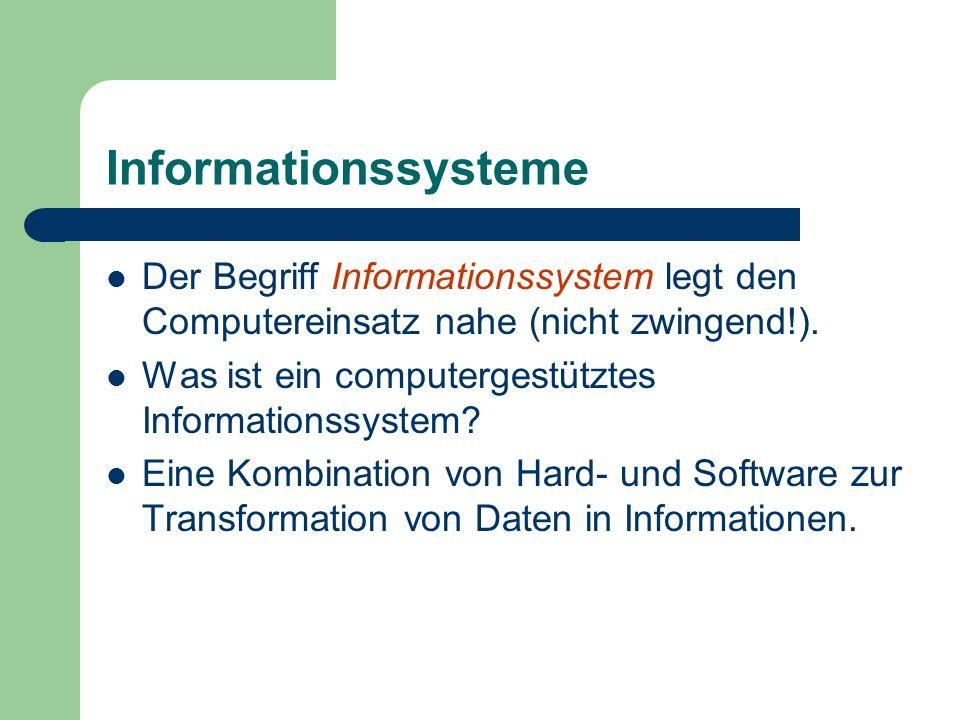 Informationssysteme Der Begriff Informationssystem legt den Computereinsatz nahe (nicht zwingend!).