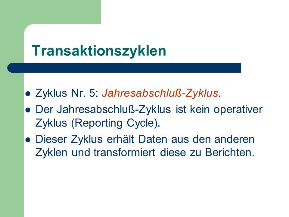 Transaktionszyklen Zyklus Nr. 5: Jahresabschluß-Zyklus.