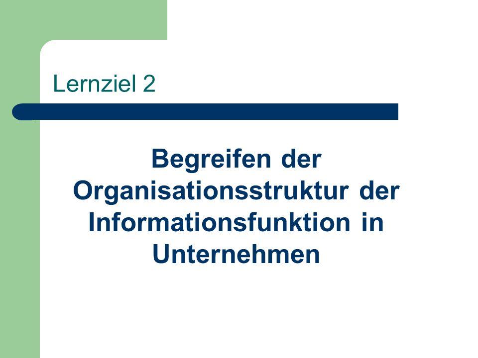 Lernziel 2 Begreifen der Organisationsstruktur der Informationsfunktion in Unternehmen