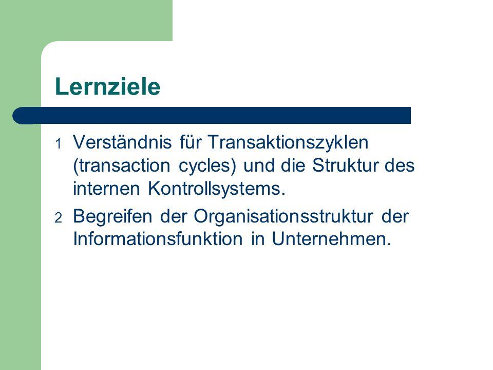 Lernziele Verständnis für Transaktionszyklen (transaction cycles) und die Struktur des internen Kontrollsystems.
