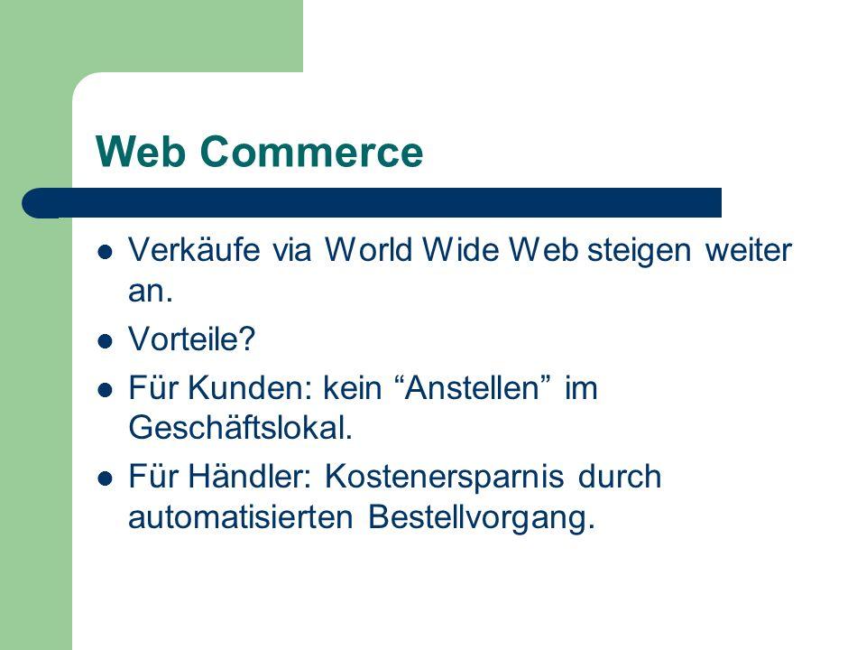 Web Commerce Verkäufe via World Wide Web steigen weiter an. Vorteile