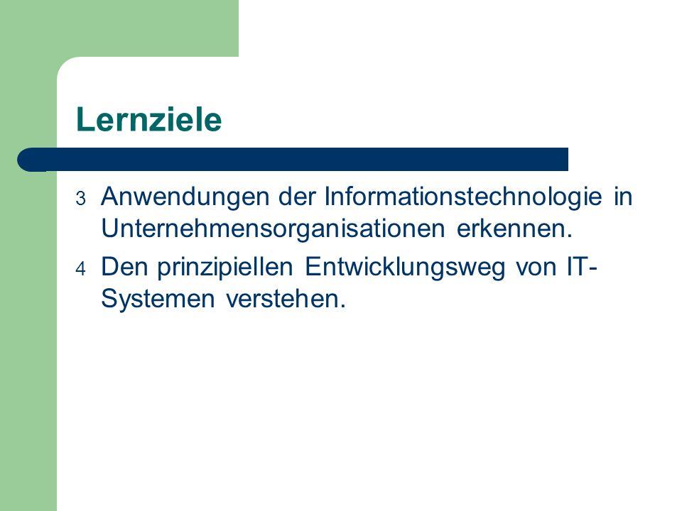 Lernziele Anwendungen der Informationstechnologie in Unternehmensorganisationen erkennen.