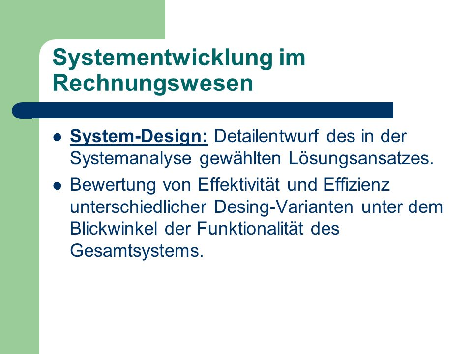 Systementwicklung im Rechnungswesen