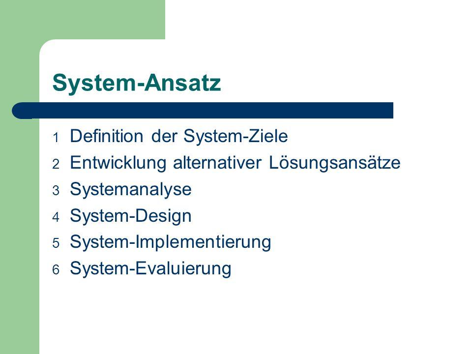 System-Ansatz Definition der System-Ziele