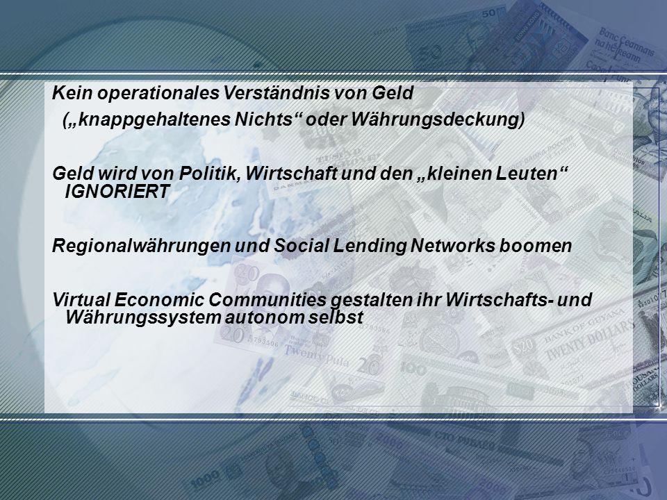 Kein operationales Verständnis von Geld
