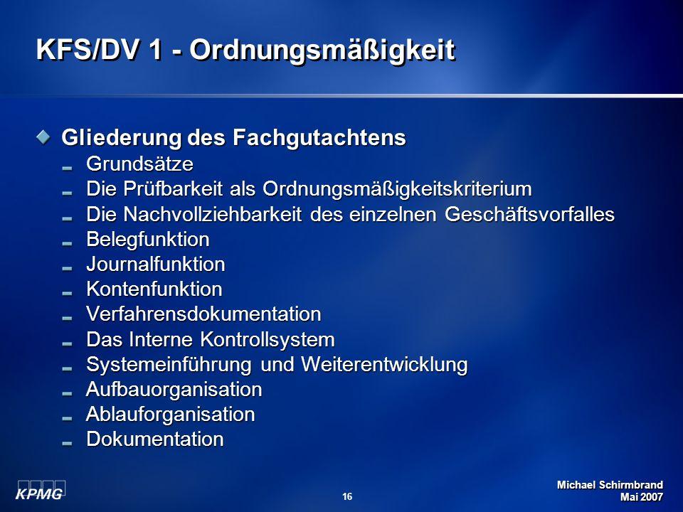 KFS/DV 1 - Ordnungsmäßigkeit