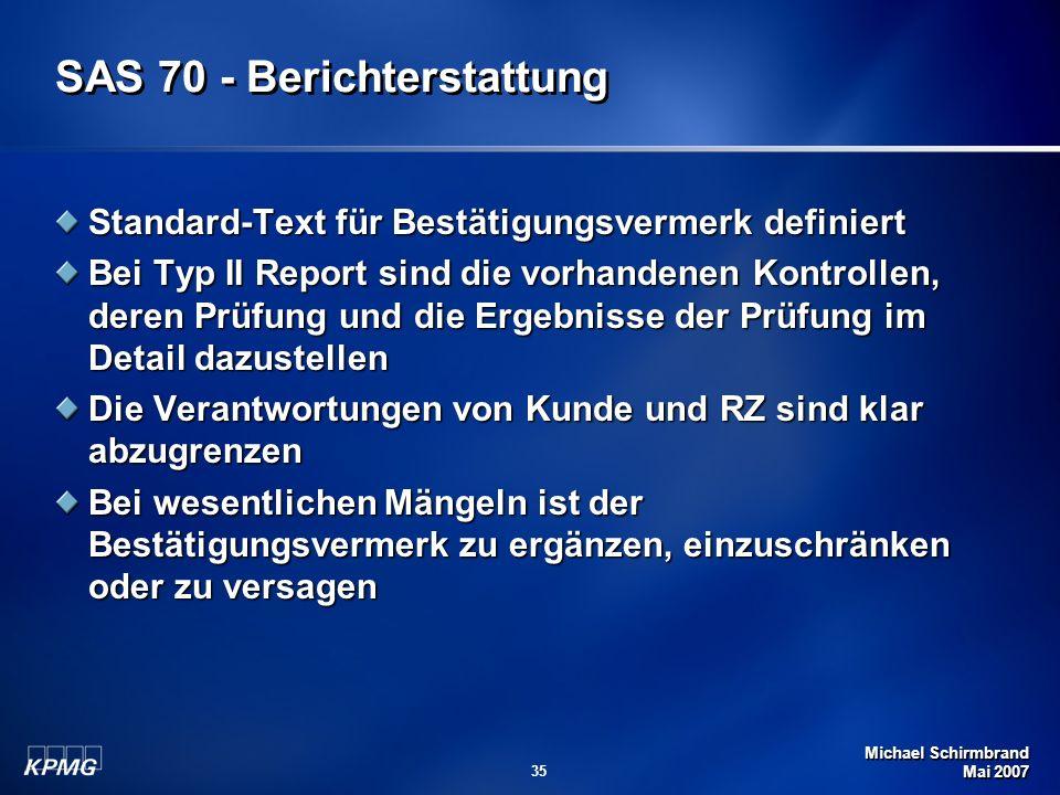 SAS 70 - Berichterstattung