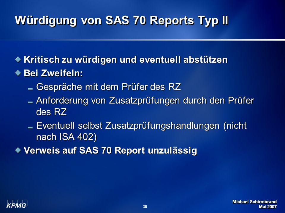 Würdigung von SAS 70 Reports Typ II