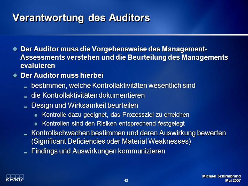 Verantwortung des Auditors