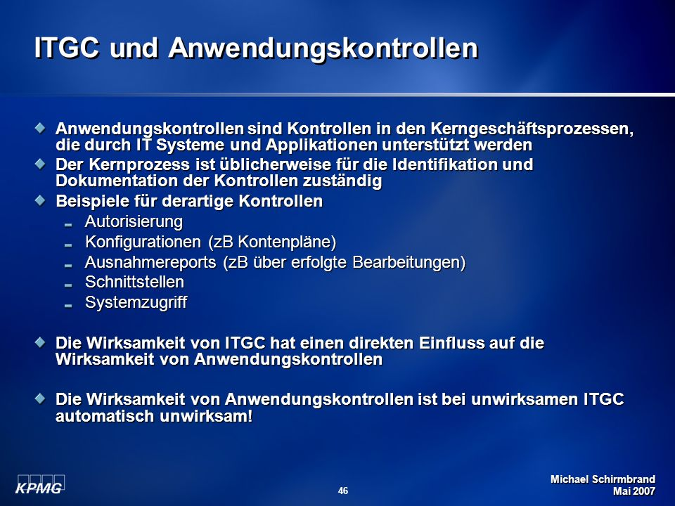 ITGC und Anwendungskontrollen