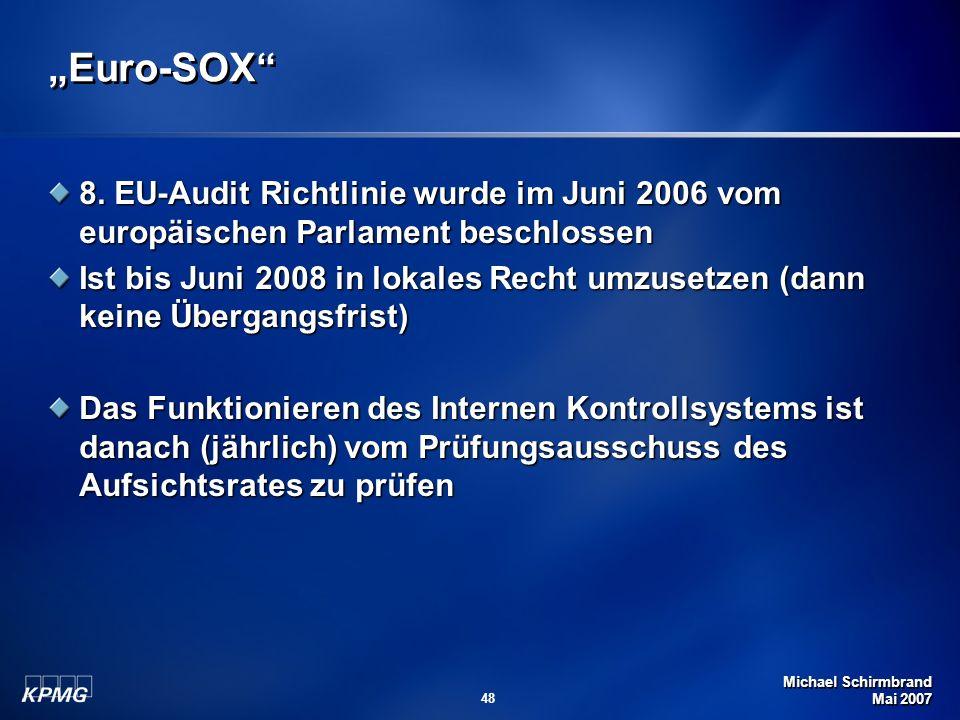 """""""Euro-SOX 8. EU-Audit Richtlinie wurde im Juni 2006 vom europäischen Parlament beschlossen."""