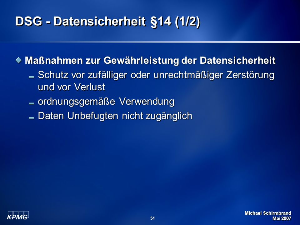 DSG - Datensicherheit §14 (1/2)