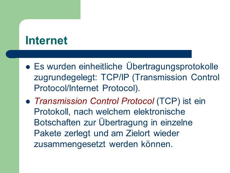 Internet Es wurden einheitliche Übertragungsprotokolle zugrundegelegt: TCP/IP (Transmission Control Protocol/Internet Protocol).