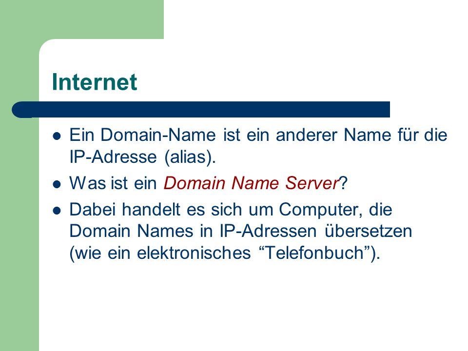 Internet Ein Domain-Name ist ein anderer Name für die IP-Adresse (alias). Was ist ein Domain Name Server