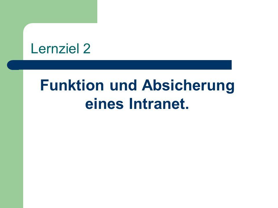 Funktion und Absicherung eines Intranet.