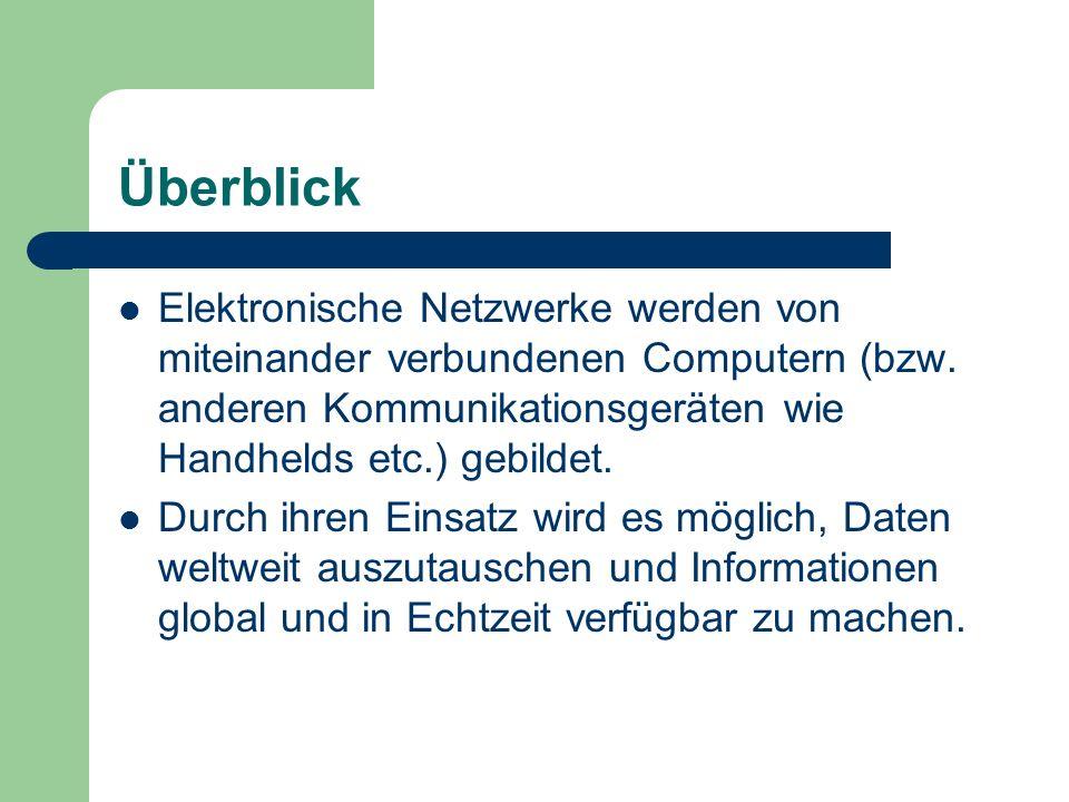 Überblick Elektronische Netzwerke werden von miteinander verbundenen Computern (bzw. anderen Kommunikationsgeräten wie Handhelds etc.) gebildet.