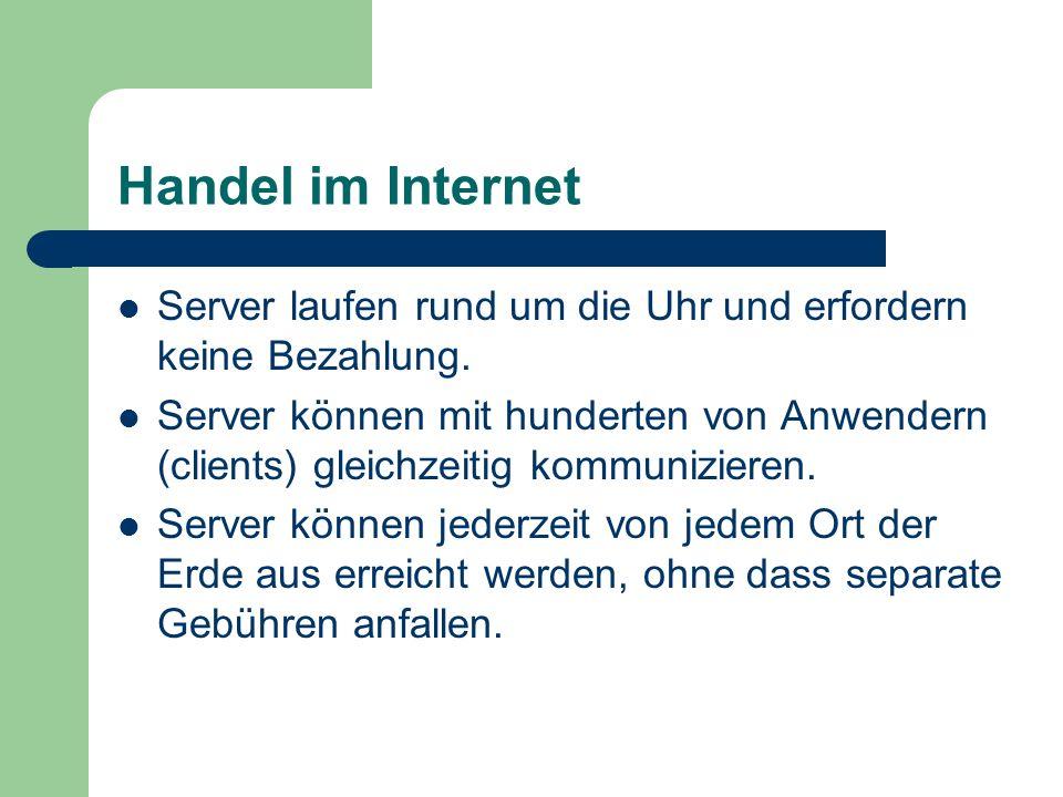 Handel im InternetServer laufen rund um die Uhr und erfordern keine Bezahlung.