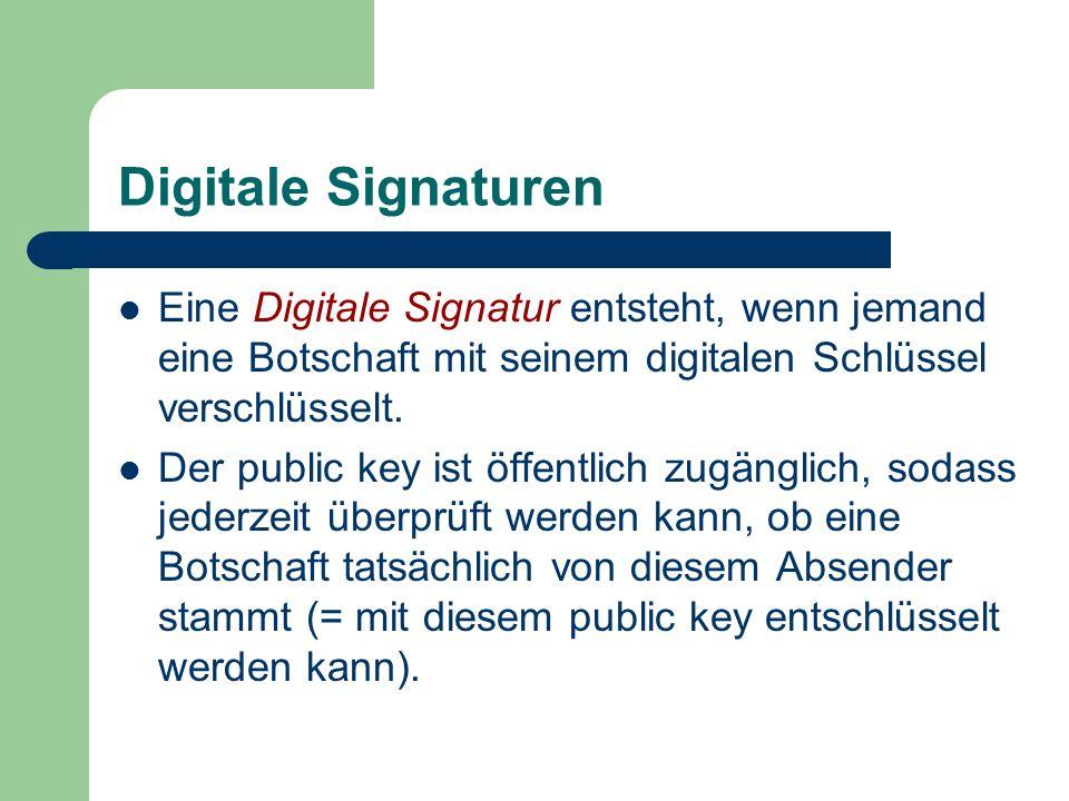Digitale SignaturenEine Digitale Signatur entsteht, wenn jemand eine Botschaft mit seinem digitalen Schlüssel verschlüsselt.