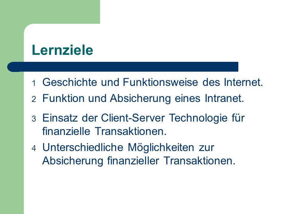 Lernziele Geschichte und Funktionsweise des Internet.